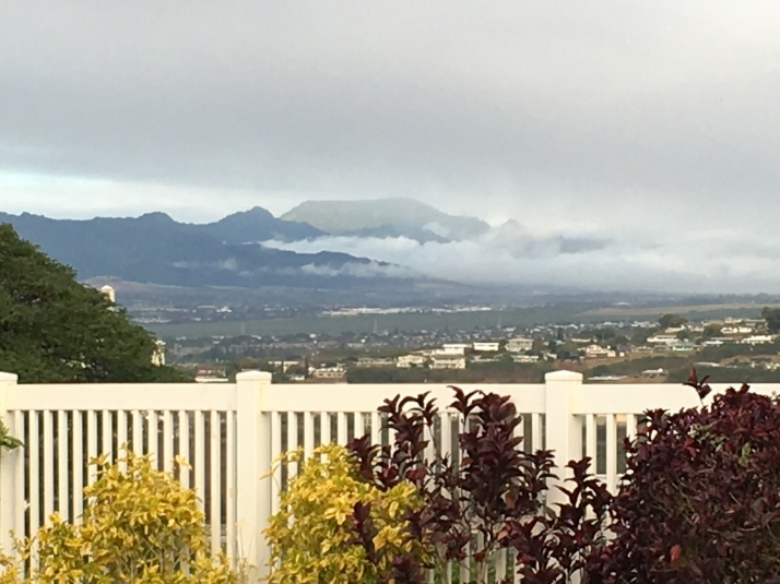 View of mountains of North Shore Oahu with clouds rolling in.