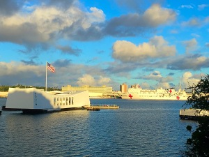 USS Arizona Memorial and USS Mercy in Pearl Harbor